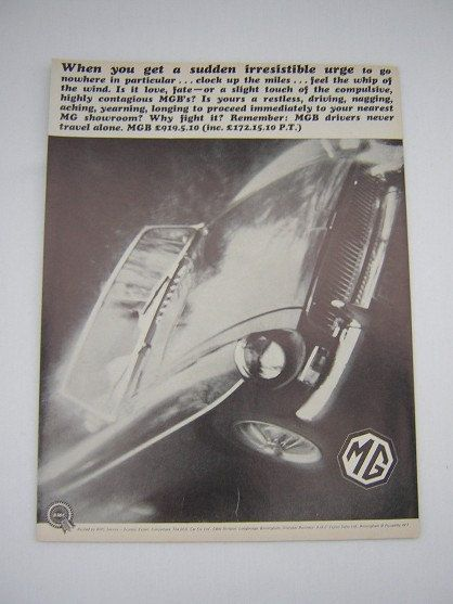 =-=Original MGB Advert from 1967 - MG Sports Car Ad Advertisement Classic