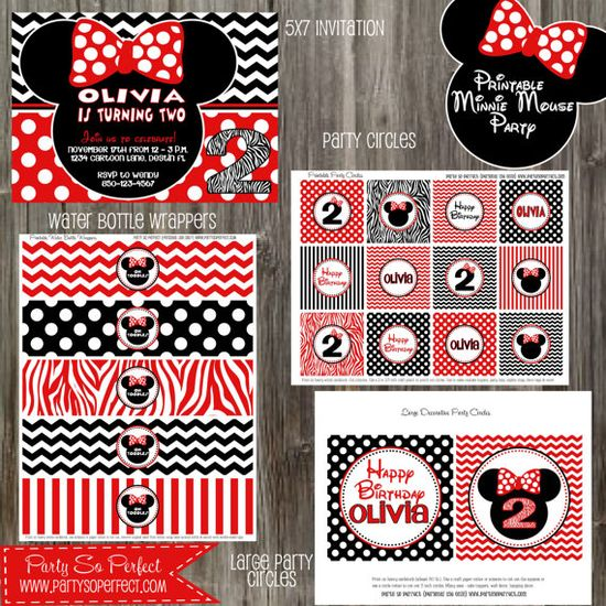 Minnie Mouse Red and Black Birthday Girl Party Package - Printable