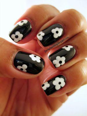 Goes with any outfit. Flower nails #nails #nailart #nail #art #black #white #design #nailpolish