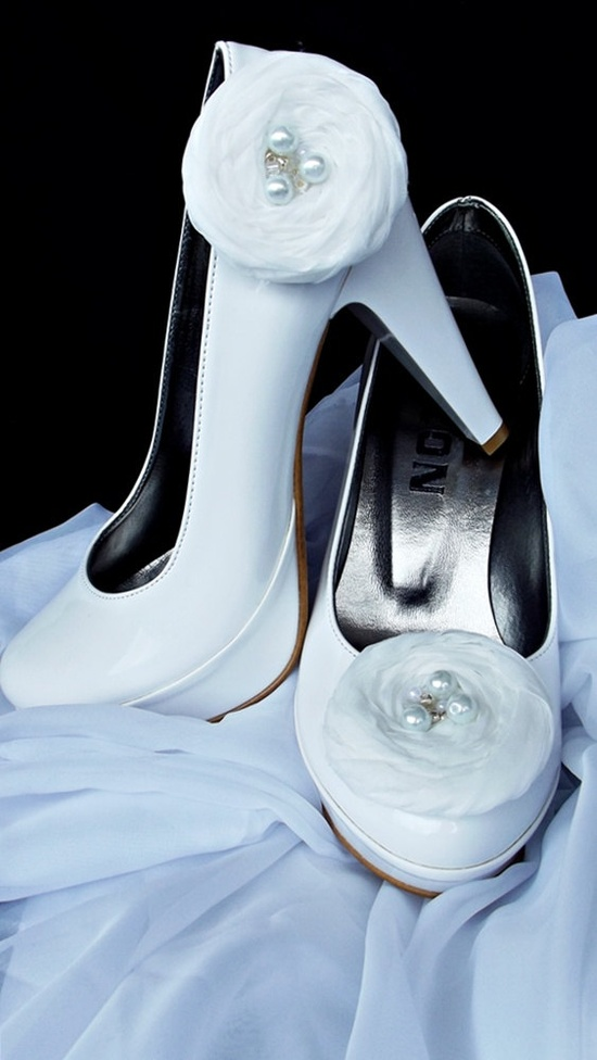 White Chiffon Roses Shoe Clips by BizimWedding on Etsy, $19.99