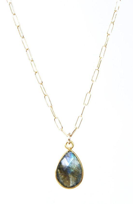 Leolani necklace - labradorite gold necklace, maui, hawaii, www.kealohajewelr... $58.00
