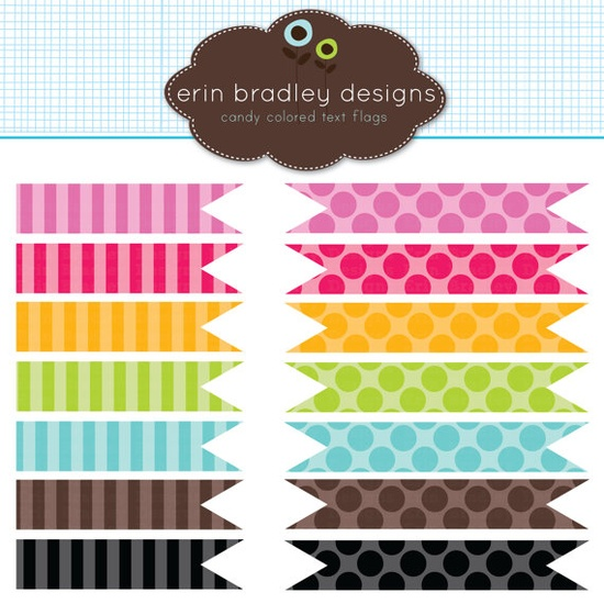 digital dots + stripes mini banners...perfect for drink/food flags or mini banner garlands, $5