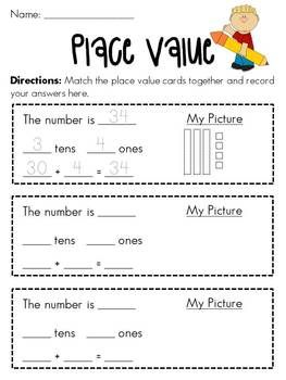 Place Value to 100 Matching Math Station (over 72 cards!)