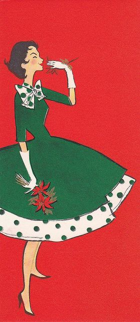 Vintage Hallmark Christmas card. I look like this at Christmas. In my mind.