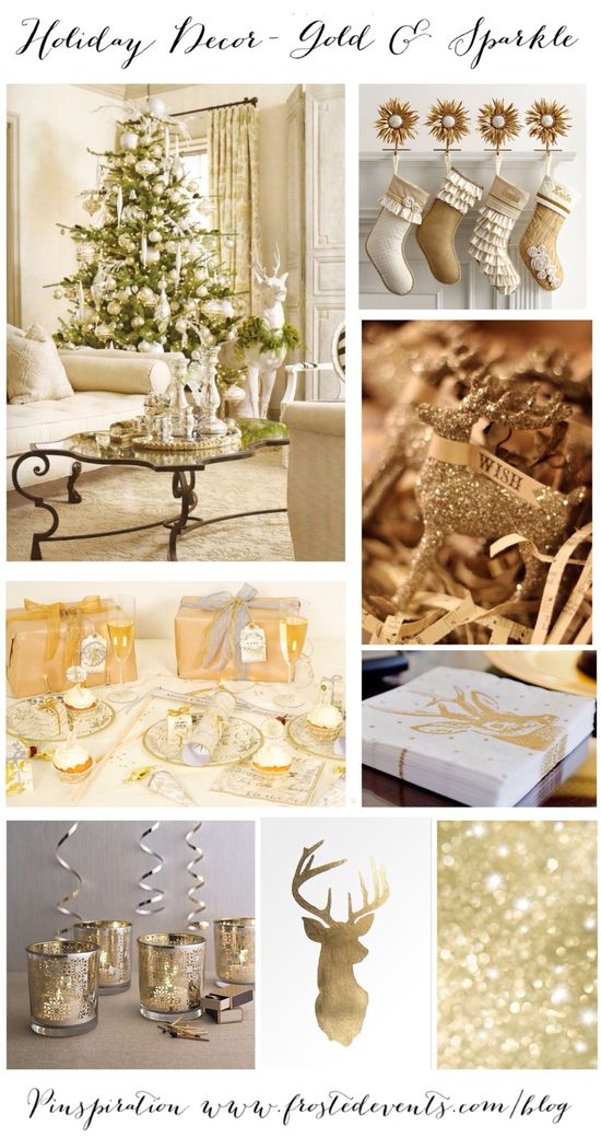 Holiday Decor- Gold & Sparkle Christmas  Christmas ideas for trimming the tree & decking the halls, holiday decor, recipes, crafts   #christmas #holiday #decorate