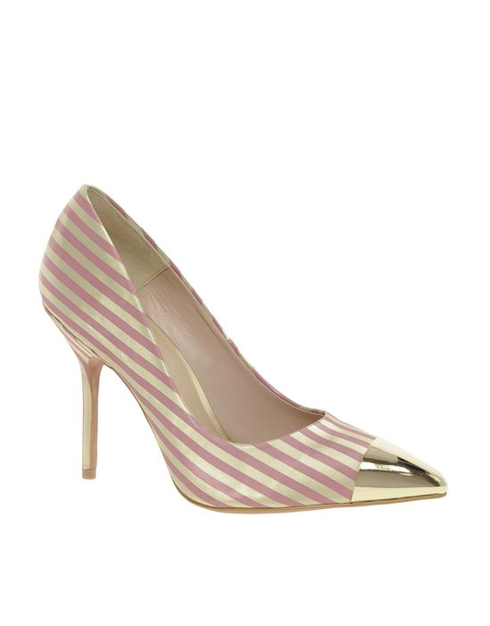 Pointed High Heels with Metal Toe Cap