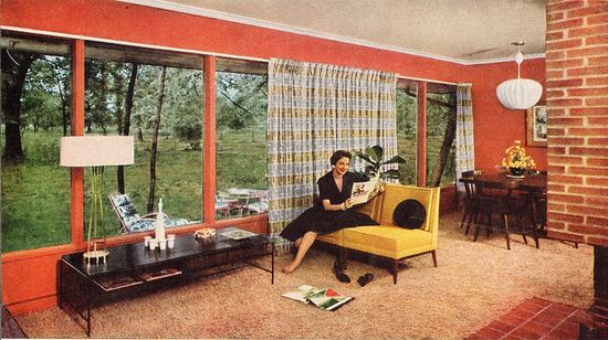 Vividly hued mid-century modern from 1955. #vintage #1950s #furniture #home