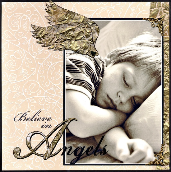 I believe in angels.  Cute scrapbook page with angel wings
