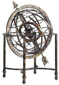 Iron Arrow Decorative Steampunk Globe  This creative metal globe mixes the romantic with the scientific and makes a unique addition to your steampunk home decor. Constructed out of sturdy iron and finished in natural looking gold and Verde.