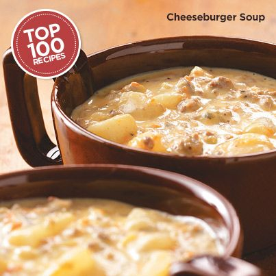 Cheeseburger Soup Recipe from Taste of Home  #Top_100 #Recipe.