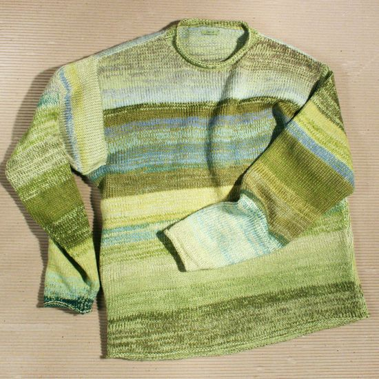 Young Grasshopper size L Mens Knit Cotton and Kid Mohair Sweater, Wrapture by Inese /// TAFA Market, Green Collection /// www.tafaforum.com...