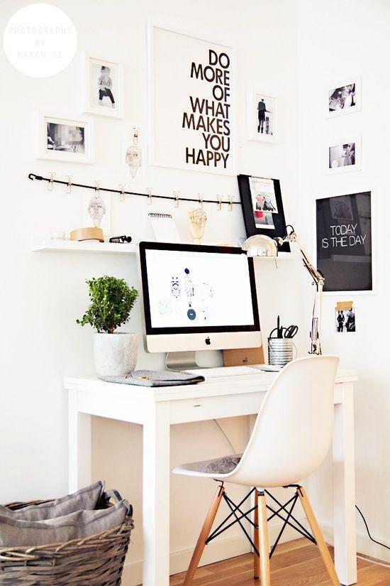 Simple white desk.