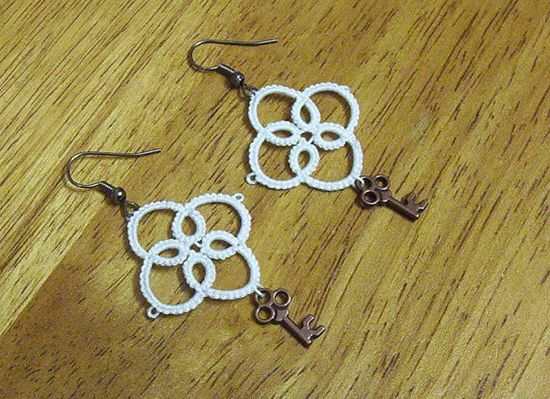 bridal earrings white lace earrings tatted by laceforbrides, $4.50