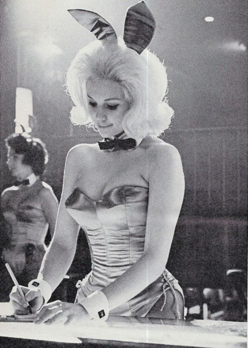 A 1960s Playboy Bunny at work.
