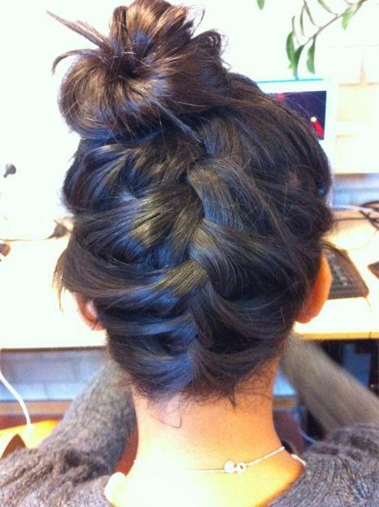 back braided into bun