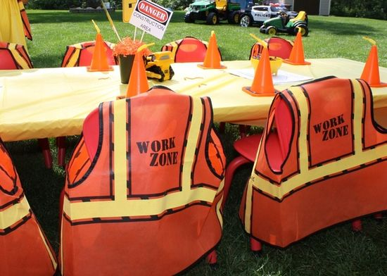Table at a Construction Party #construction #party