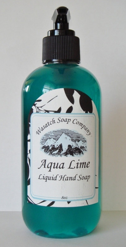 Aqua Lime Handmade Liquid Soap  All Natural - A pure, luxurious, creamy liquid soap...not drying like commercial brands. No added detergents, just moisturizing oils that clean and nourish your skin. I use the same wonderful ingredients in my liquid soaps that I use in my bar soaps.     The intense energy of water combined with raw lime give you the ultimate summertime/anytime gratification of this bold uni-sex blend...WOW!!!