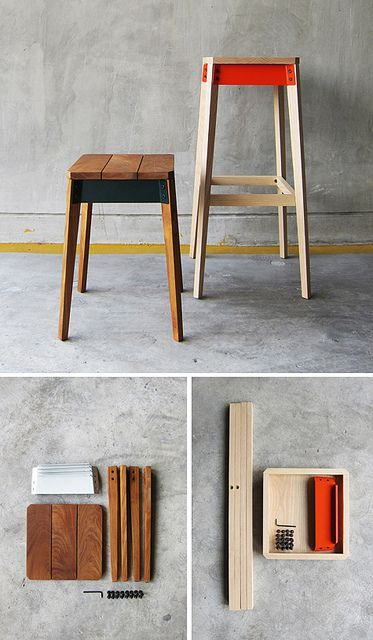 Pack Series by TakeHomeDesign is a flat-packed bar stool design available in two heights