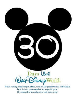 30 Day Walt Disney World Countdown Calendar