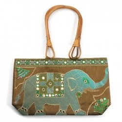 Elephant Bag with Wooden Handles