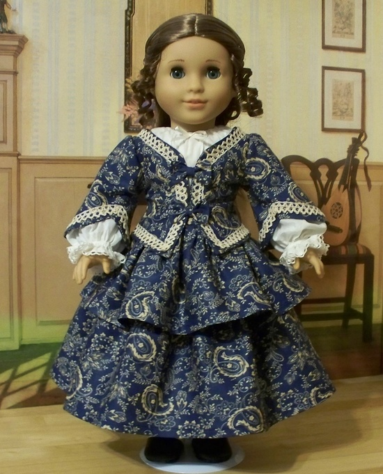 """1853 3pc. Paisley Ensemble of Jacket, Skirt, and Chemise  - Made to Fit 18"""" American Girl Doll Cecile or Marie-Grace, KeepersDollyDuds"""