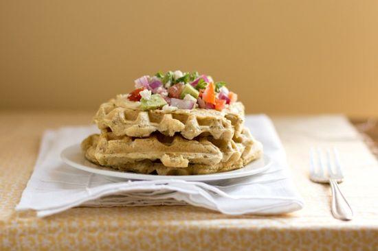 savory hummus waffles