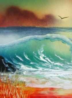 Developed in Mexico by spray painter Gerardo Amor this technique makes it possible to spay paint fantastic looking sceneries with just a few tools, such as spray paint, a spatula and bits of paper.