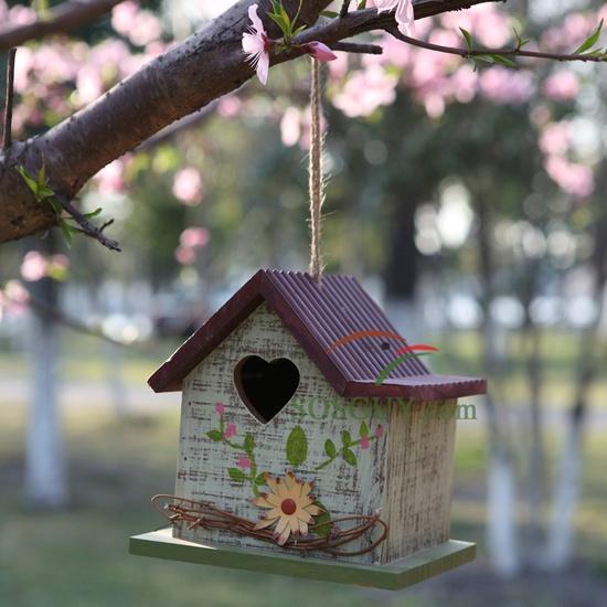 Bird House with Heart Shaped Window