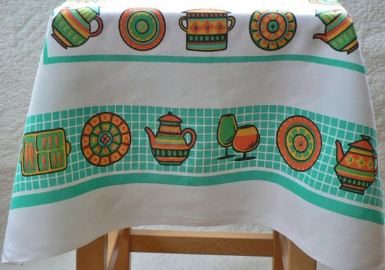 swinging '60s tablecloth