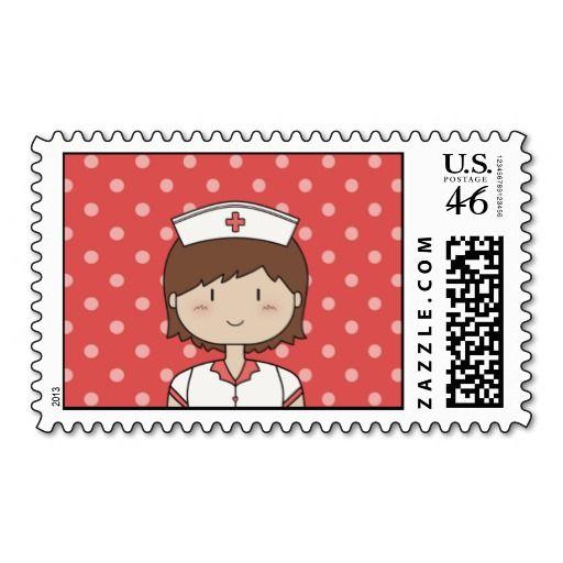 Cute cartoon nurse (brunette) RED Postage Stamp