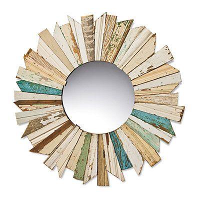 reclaimed wood sunburst mirror