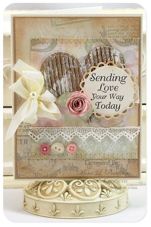 Charmingly beautifully shabby chic card with cardboard heart and cream ribbon. #cards #scrapbooking #papercrafting #ribbon #shabbychic #vintage
