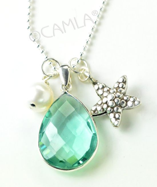 Silver Aqua Green Starfish Necklace by Camla