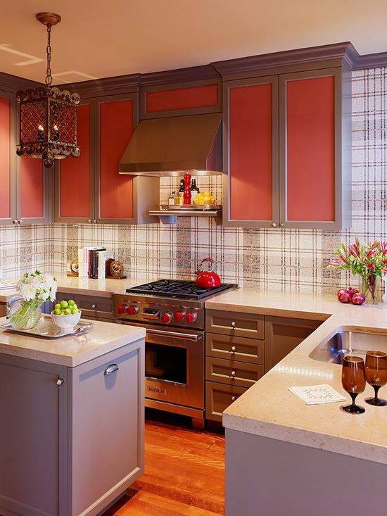 Edwardian kitchen interior with colorful accents   #Interior  #Design #Residential #Founterior