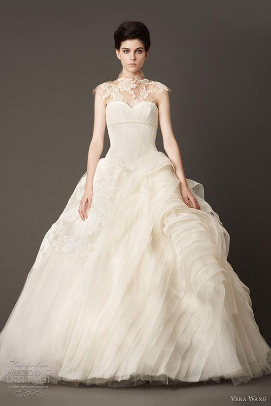 vera wang wedding dress fall 2013 ball gown illusion neckline