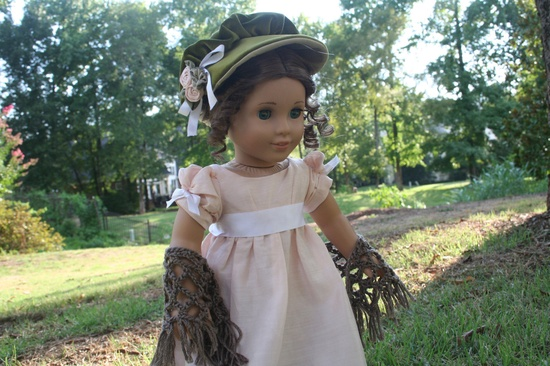 Reserved for  C.A.C. Regency Visiting Accessories for American Girl Doll Caroline. A bonnet and hand crocheted shawl for you Regency doll.