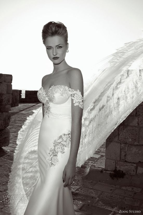 zoog wedding dress 2013 off shoulder guipure lace straps sleeves wedding dress
