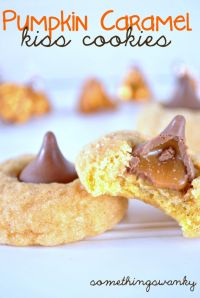 Pumpkin Caramel Kiss Cookies are the most amazing cookies! MyRecipeMagic.com #cookies #pumpkin #caramel #kiss