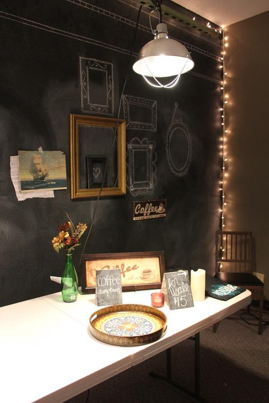 chalkboard walls and funky lighting?  yes, please!!!