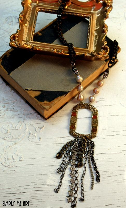Vintage Brass Buckle Rhinestone and Baroque Pearl by simplymeart, $86.00