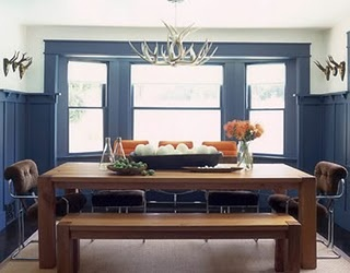 Modern rustic dining room, large wood table.