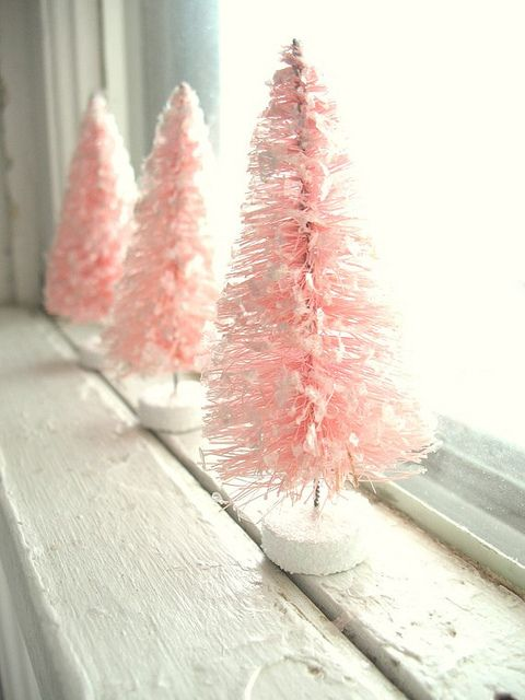 Pink Christmas Bottle Brush Trees...