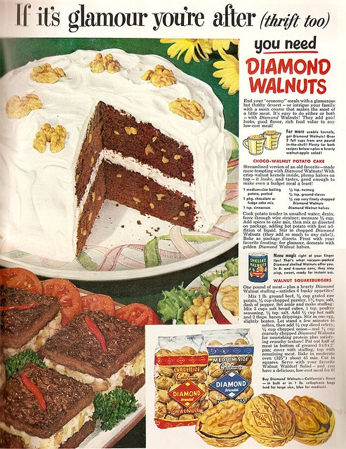 If it's glamour you're after: Diamond Walnuts!  recipes for Choco-Walnut Potato Cake and Walnut Squareburgers    From Woman's Home Companion - December 1951