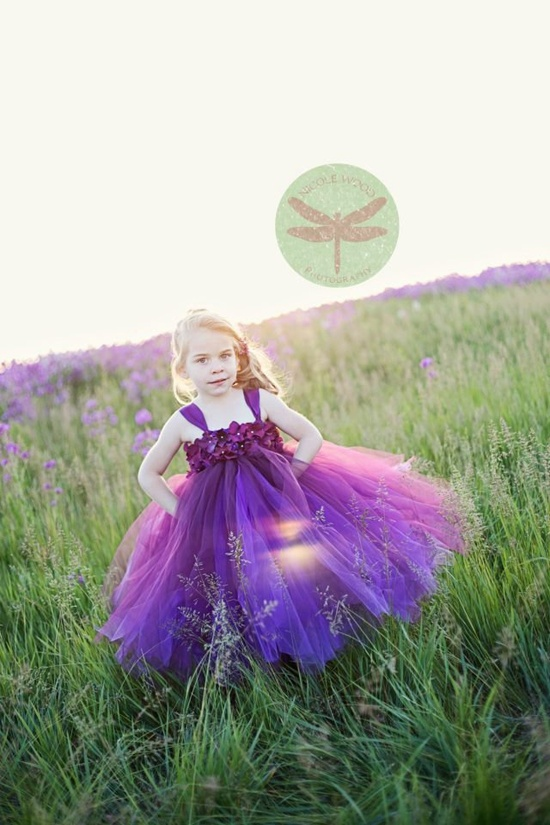 Plum Hydrangea Tutu Flower Girl Dress.