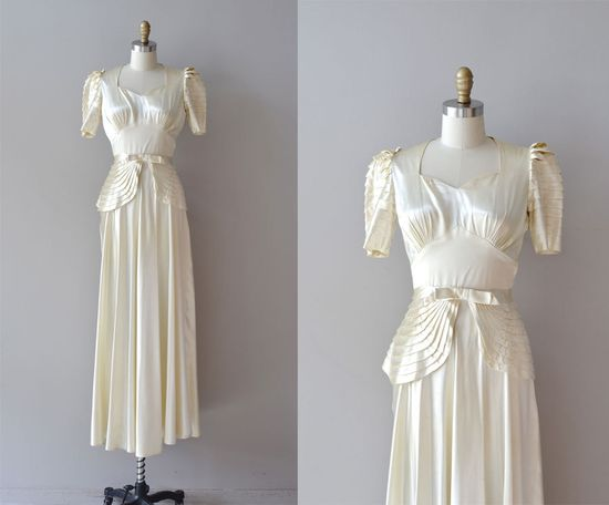 1930s wedding dress / silk 30s wedding dress / Vivaudou gown. $725.00, via Etsy.