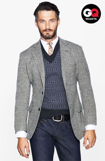 Todd Snyder Herringbone Sportcoat, Sweater Vest, Tie, and Corduroy Pants. Men's Fall/Winter Fashion.