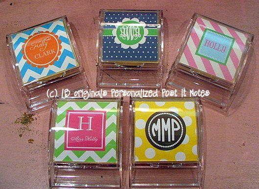 Monogrammed post it note holder. I need this for my desk area at home