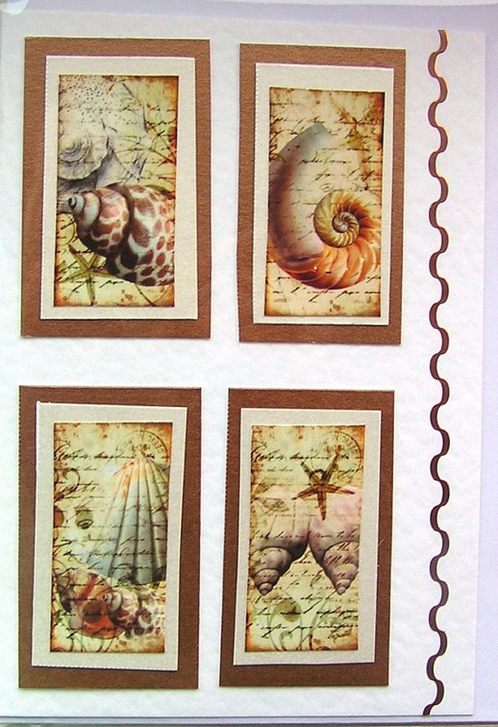Sea Shell HandCrafted Layered Card  Blank for any by SunnyCrystals, £1.45 #decoupage #card #shell #sea #ocean