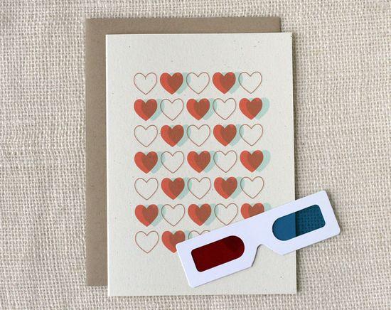 Love Card - 3D Hearts. $5.00, via Etsy.