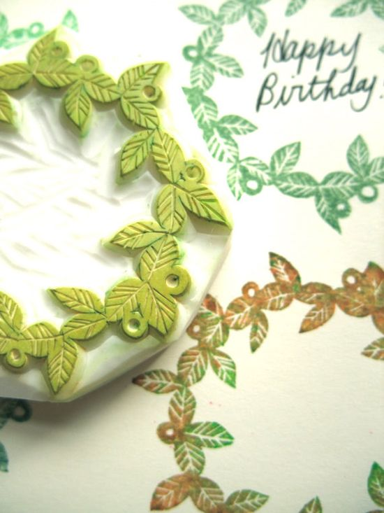 leafy wreath hand carved rubber stamp. hand carved stamp. handmade journaling rubber stamp. no1. $25,00, via Etsy.